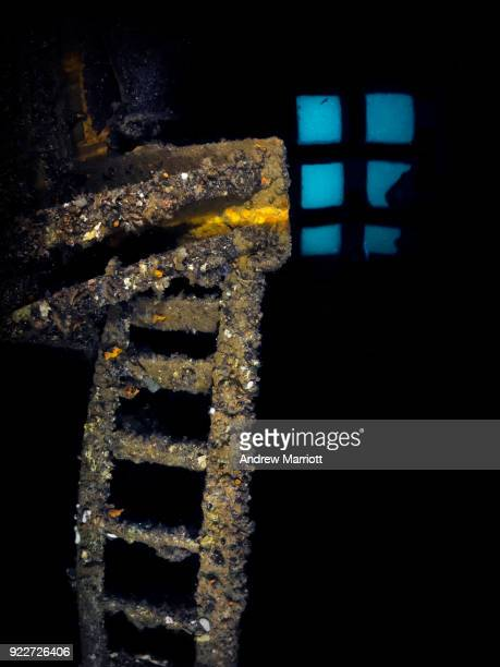 Ladder inside engine room of shipwreck