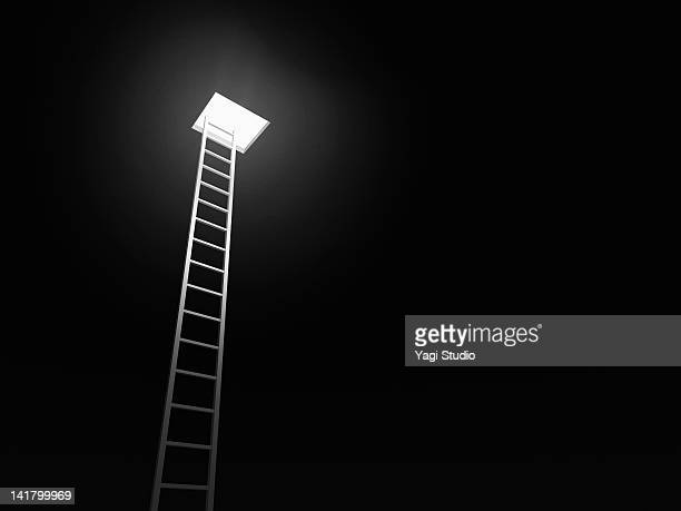 ladder leading to the exit, black background - accessibility stock pictures, royalty-free photos & images