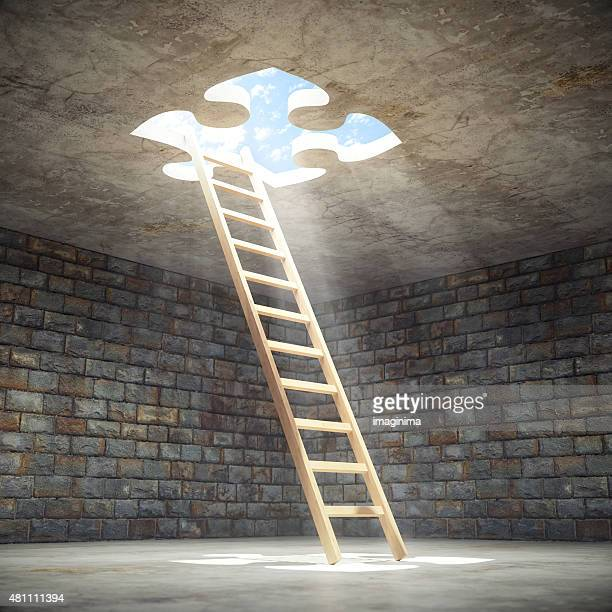 ladder leading up to the light - escapism stock pictures, royalty-free photos & images