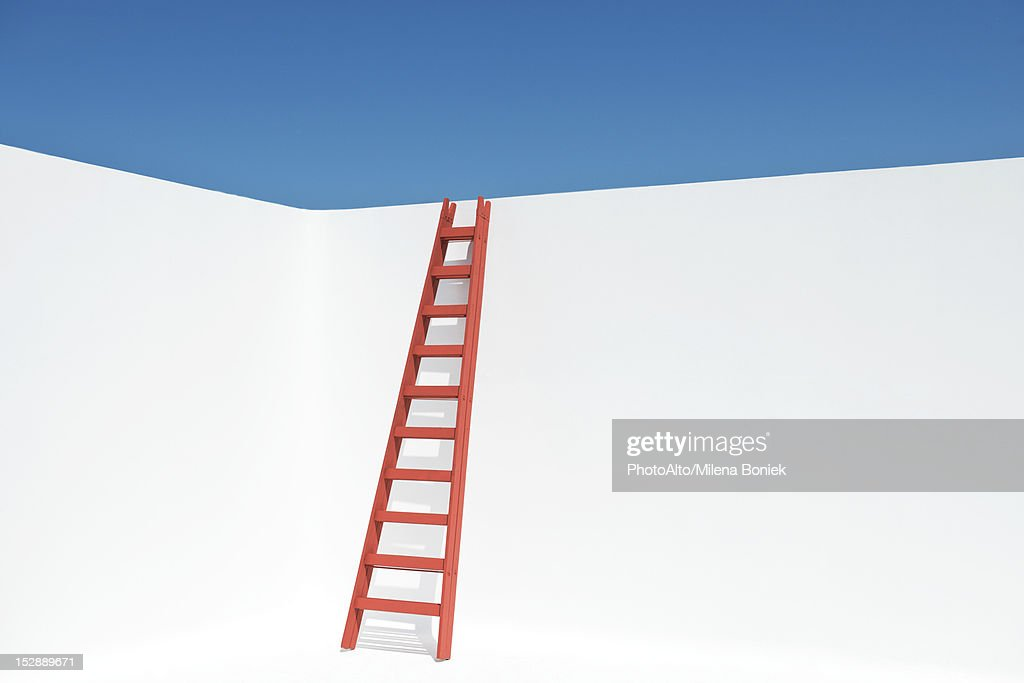 Ladder leaning against wall : Stock Photo