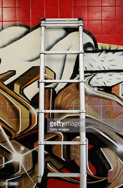 A ladder leans against Japanese graffiti artists Kress and Esow's artwork on the wall of StolenSpace gallery prior to tonight's exhibition opening...