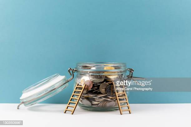 ladder on a coins jar - guarding stock pictures, royalty-free photos & images