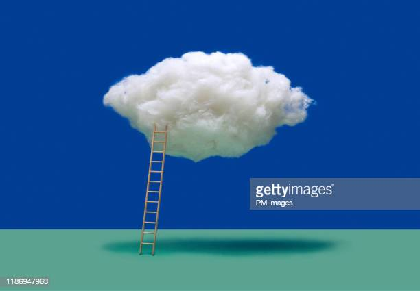 ladder to a cloud - initiative stock pictures, royalty-free photos & images