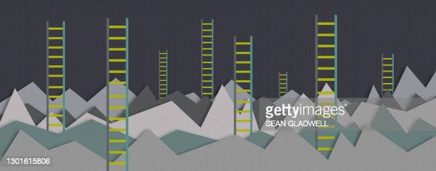 ladders and graphs - performance stock pictures, royalty-free photos & images