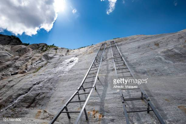 Ladders leading up from the Mer De Glace glacier to the Montenvers railway station,to access the train station you now have to climb up over 100 metres on this ladders, Montenvers, Chamonix, Haute Savoie, France