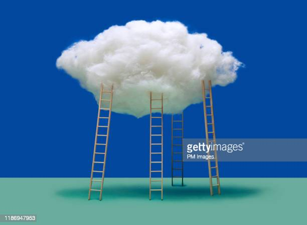 4 ladders on cloud - aspirations stock pictures, royalty-free photos & images