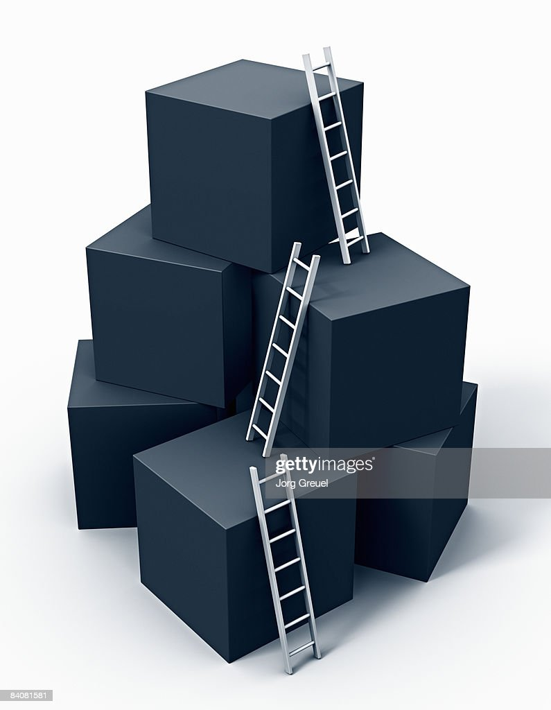 Ladders on cubes : Stock Photo