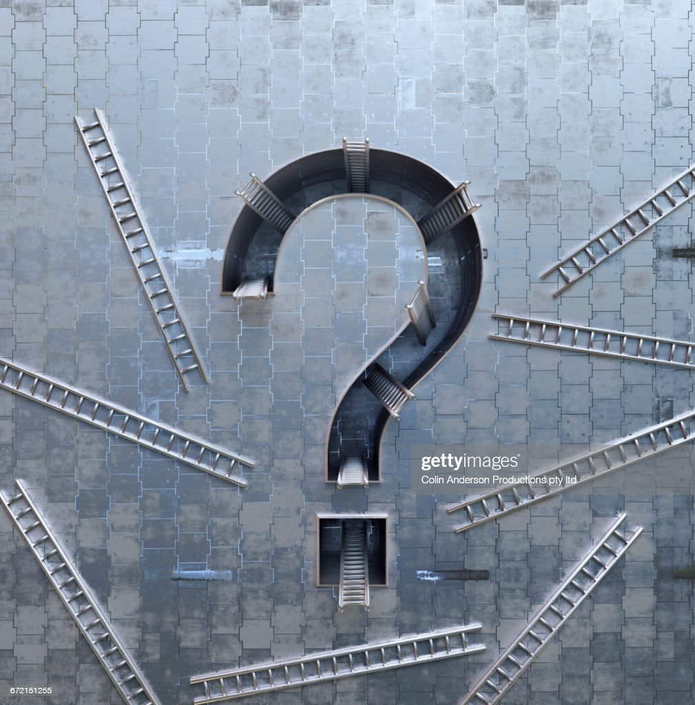 Ladders scattered around three-dimensional question mark symbol : Stock Photo