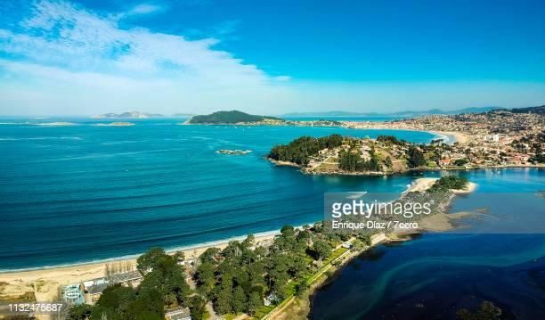 ladeira beach and camping grounds, rias baixas, spain - vigo stock pictures, royalty-free photos & images