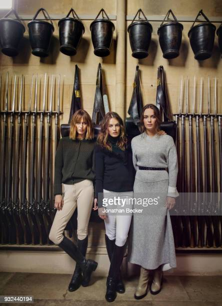 Ladies Alice Violet and Eliza Manners are photographed for Vanity Fair Magazine on June 24 2016 in the PreGuardroom of Belvoir Castle their family...