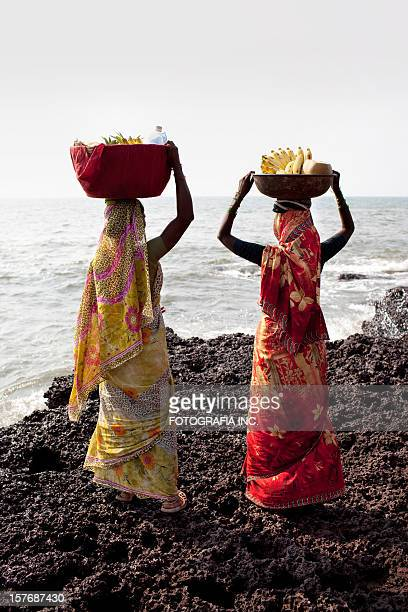 ladies at the beach market - panjim stock photos and pictures