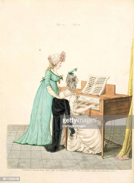 Ladies at the piano, from the Gallery of Fashion, 1796. Private Collection.