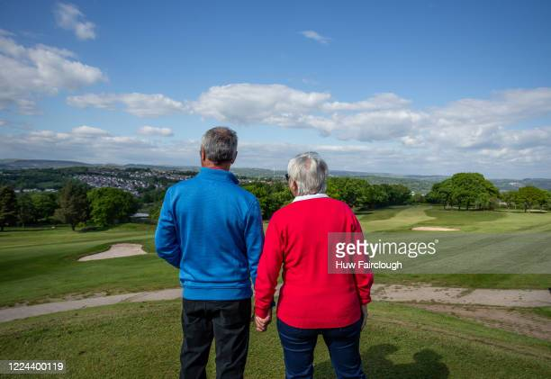 Ladies Captain Fredrica Price and her husband Mark Price over looking the course patiently waiting fo the Bryn Meadows Golf Course to reopen on May...