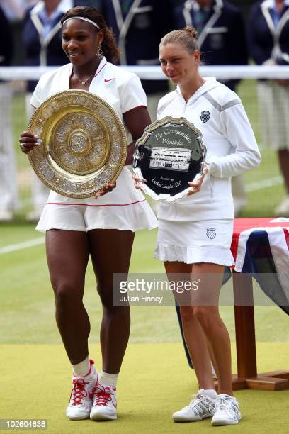 Ladies Champion Serena Williams of USA and runner up Vera Zvonareva of Russia pose after their Ladies Singles Final Match on Day Twelve of the...