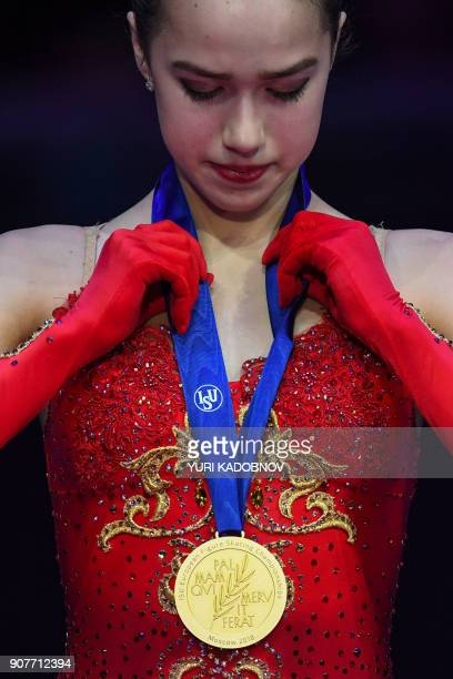 Ladies competition gold medallist Alina Zagitova of Russia poses with her medal during the ceremony at the ISU European Figure Skating Championships...
