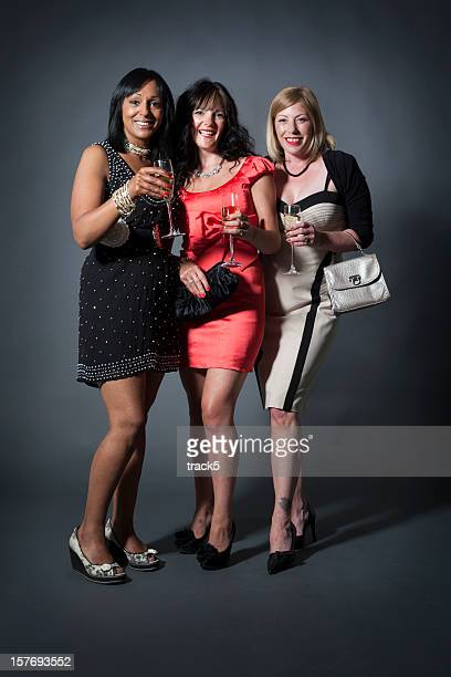 ladies day: champagne friends - cocktail dress stock pictures, royalty-free photos & images