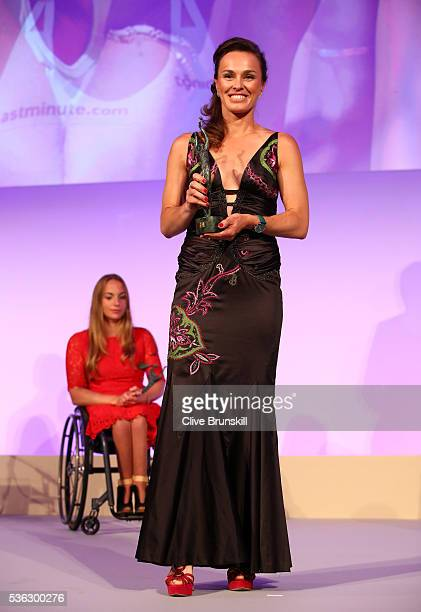 Ladies Doubles Champion Martina Hingis of Switzerland receives the award on behalf of herself and playing partner Sania Mirza on India during the...