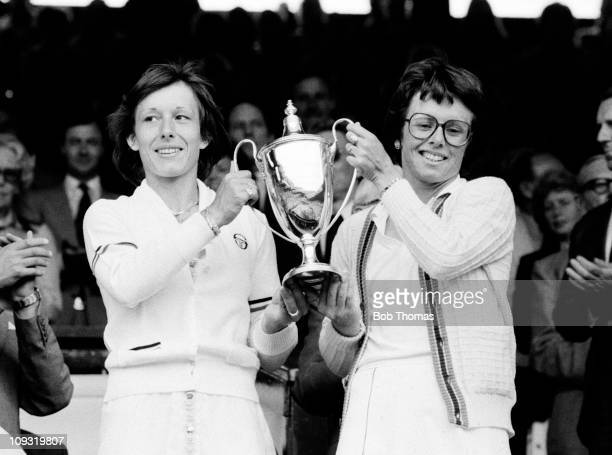 Ladies Doubles Champions Martina Navratilova and BillieJean King at the All England Lawn Tennis Championships in Wimbledon July 1979 This was...