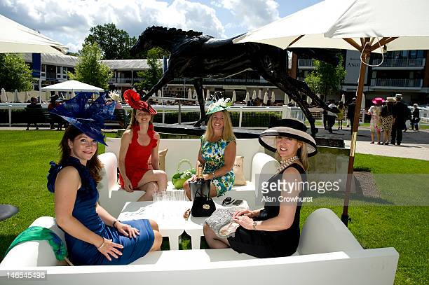 Ladies enjoy champagne during Royal Ascot at Ascot racecourse on June 19 2012 in Ascot England