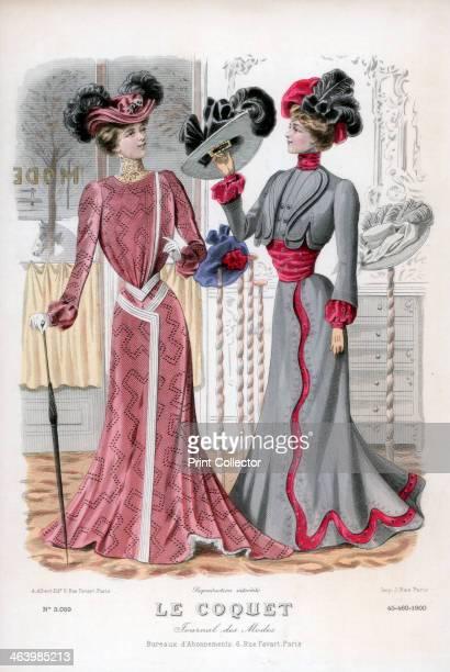 Ladies' fashions late 19th century Illustration from 'Le Coquet' fashion magazine