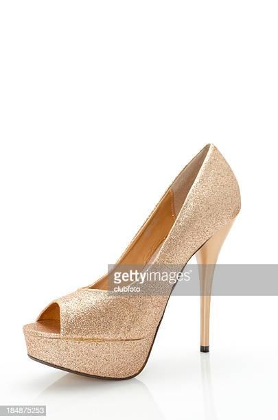 Ladies gold high heel stiletto shoe