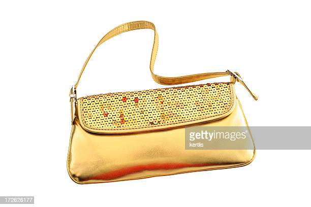 ladies' handbag - gold purse stock pictures, royalty-free photos & images