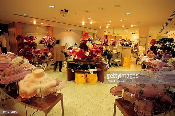 Ladies hats inside Selfridges Department Store on Oxford Street, in the heart of London's West End shopping district