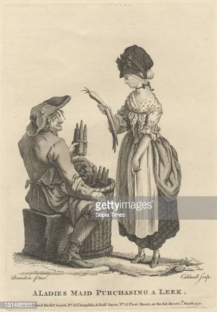 Ladies Maid Purchasing a Leek, Print made by James Caldwall, 1739–1819, British, after Michel Vincent Brandoin, 1733–1807, Swiss, Published by Robert...