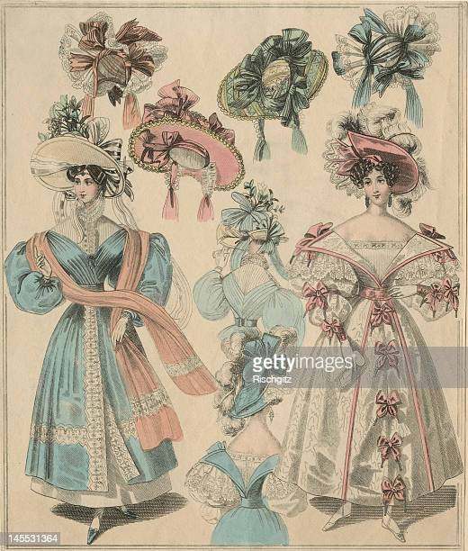 Ladies' morning and dinner dress fashions for July 1830.