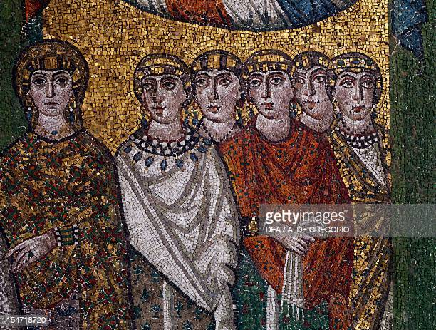 Ladies of the court detail from Theodora and her entourage mosaic south wall of the apse Basilica of San Vitale Ravenna EmiliaRomagna Italy 6th...