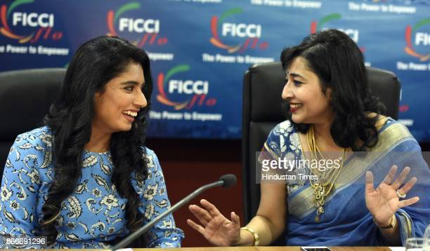 Ladies Organisation President Vasvi Bharat Ram with Indian Women's Cricket Team Captain Mithali Raj during the FICCI Ladies Organisation engages in...