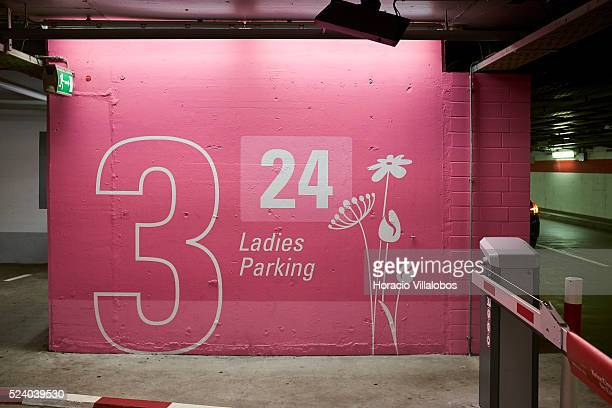 Ladies Parking in Frankfurt International Airport Frankfurt Germany 18 September 2015 Frankfurt airport has caused controversy after it painted a...