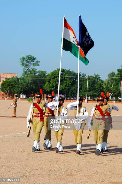 Ladies police holding indian flag, Jodhpur, Rajasthan, India