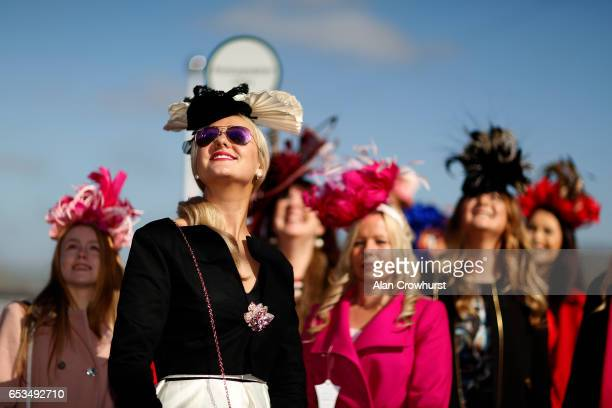 Ladies pose on Ladies Day at Cheltenham racecourse on Ladies Day of the festival meeting on March 15 2017 in Cheltenham England
