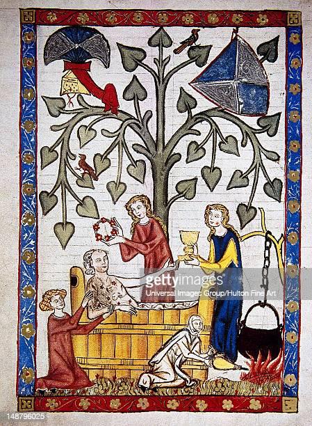 Ladies preparing the bath of poet Jakob von Warte Codex Manesse by Rudiger Manesse and his son Johannes University of Heidelberg Library Germany