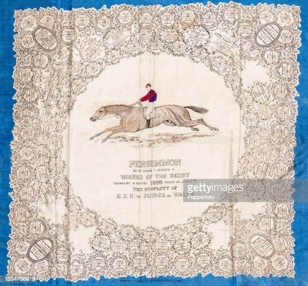 Ladies' silk scarf commemorating the victory of the Prince of Wales' horse Persimmon in the Epsom Derby on 3rd June 1896