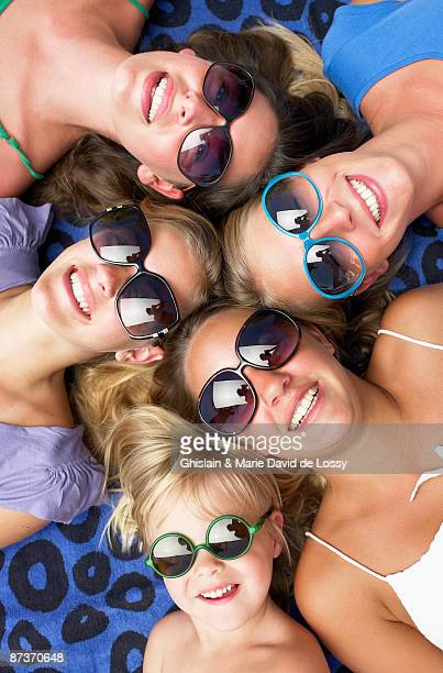 ladies smiling, shot from high angle - marie belle couture foto e immagini stock