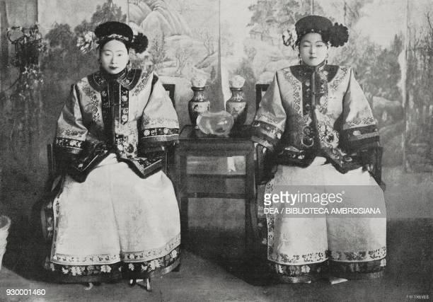 Ladies wearing reception dresses, Manchuria, China, photograph by Salvatore Minocchi, from L'Illustrazione Italiana, Year XXXI, No 8, February 21,...