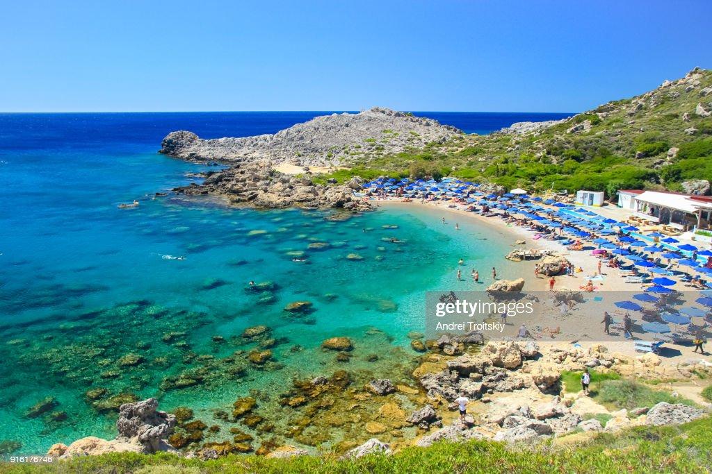 Ladiko beach near Anthony Quinn Bay, Rhodes, Greece : Stock Photo