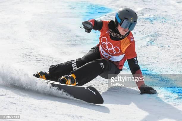 Ladina Jenny of Switzerland at parallel giant slalom at winter olympics, Gangneung South Korea on February 24, 2018.
