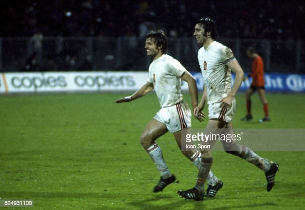 Ladislav Jurkemik and Anton Ondrus of Czechoslovakia celebrate the third goal during the European Championship between Czechoslovakia and Holland in...