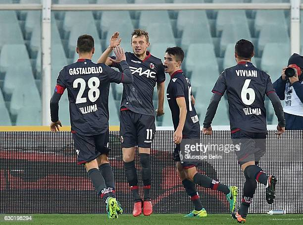 Ladislav Krejci of Bologna FC celebrates after scoring the team's third goal during the Serie A match between Pescara Calcio and Bologna FC at...