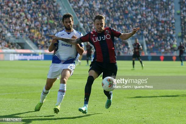 Ladislav Krejci of Bologna FC in action during the Serie A match between Bologna FC and UC Sampdoria at Stadio Renato Dall'Ara on October 27 2019 in...