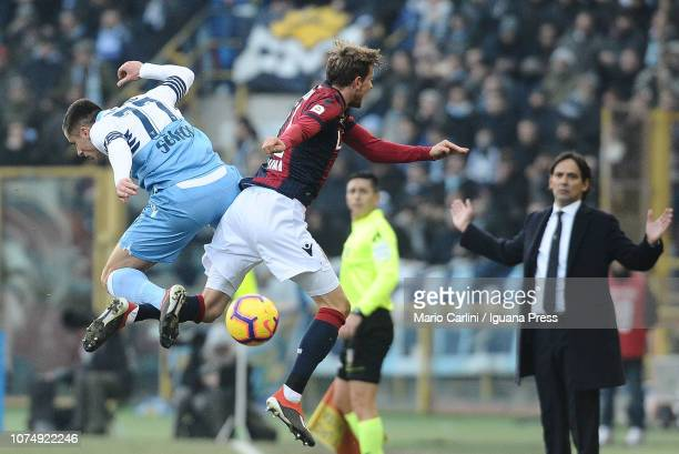 Ladislav Krejci of Bologna FC wins a header during the Serie A match between Bologna FC and SS Lazio at Stadio Renato Dall'Ara on December 26 2018 in...