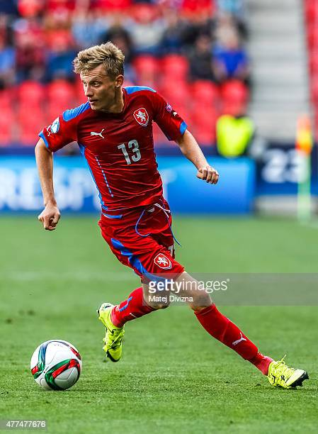 Ladislav Krejci of Czech Republic in action during UEFA U21 European Championship Group A match between Czech Republic and Denmark at Eden Stadium on...