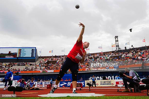 Ladislav Prasil of The Czech Republic in action during quaifying for the mens shot put on day four of The 23rd European Athletics Championships at...