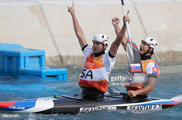 Ladislav Skantar and Peter Skantar of Slovakia celebrate after crossing the finish line during the Men's Canoe Double Final on Day 6 of the Rio 2016...