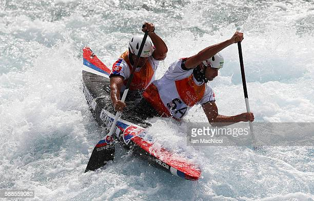 Ladislav Skantar and Peter Skantar of Slovakia compete during the Men's Canoe Double Slalom Final on Day 6 of the Rio 2016 Olympic Games at...