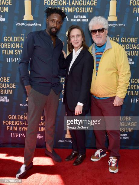 Ladj Ly Celine Sciamma and Pedro Almodovar attend the HFPA's 2020 Golden Globes Awards Best Motion Picture Foreign Language Symposium at the Egyptian...