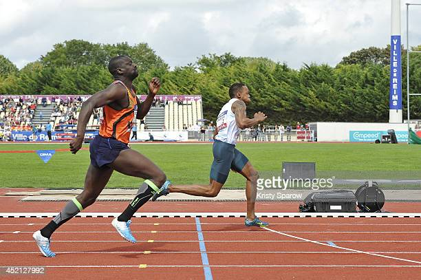 Ladji Doucoure and Dimitri Bascou compete in the 110 Meter Hurdles during the Championnats de France d'Athletisme Elite on July 13 2014 in Reims...